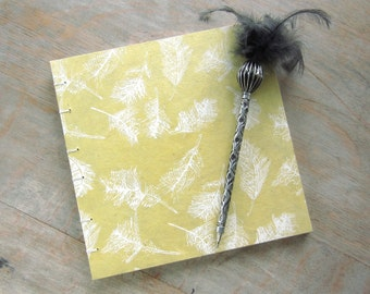 Feather Guest Book, Yellow with White Feathers, 8x8 inches, unlined torn pages, Ready to Ship