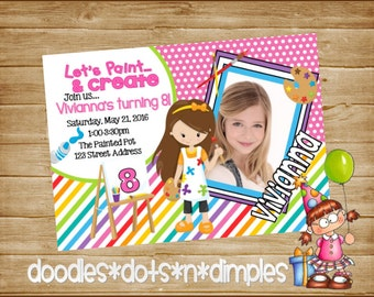 Personalized  Printable Little Artist Birthday Invitation