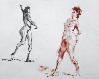 Original Figure Sketch - 18x24 Female Nude Charcoal and Pastel Drawing by David Lloyd