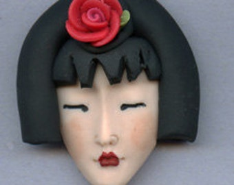 OOAK Polymer Clay Detailed  Geisha  face with  Porcelain Rose GSHA 3