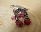 petite rustic ruby dangle earrings - oxidized silver