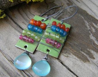 SALE - tribal earrings - enameled copper and aqua chalcedony