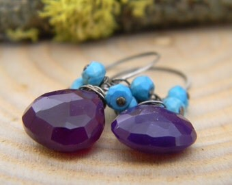 Grape Chalcedony and Turquoise Earrings - oxidized silver