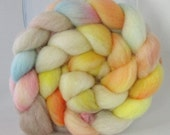 Hand Dyed Falkland Wool Combed Top Roving  (4.0 oz) - DELICATE FLOWER - Spinning Fiber Hand Painted Kettle Dyed Braid Needle Felting Prop