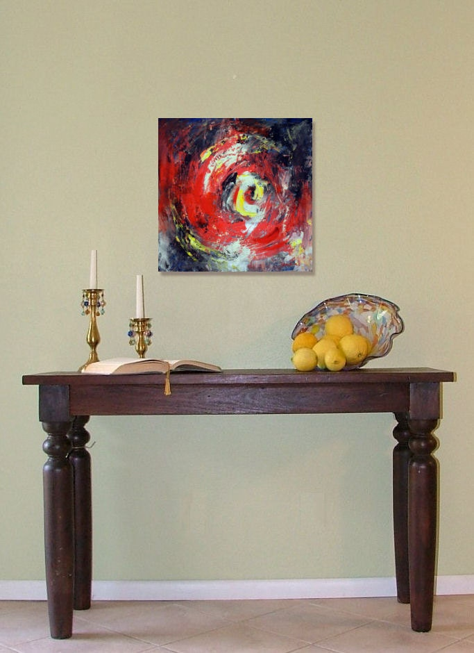 Wall Decor 20x20 : Abstract red painting vortex art on canvas
