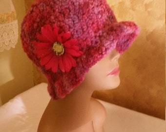 Crochet Multi-Colored Cloche Style Hat with a flower