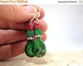 25% SALE Green Jasper Earrings, Teardrop Earrings, Silver, Under 20, Fall Finds,