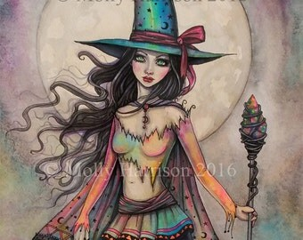 Fire Opal - Original Watercolor and Mixed Media Painting by Molly Harrison - Witch Halloween Fantasy Wiccan Wicca