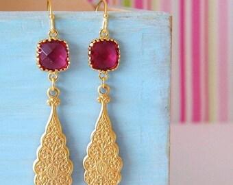 20% OFF SALE Fuchsia Pink Morrocan Drop Earrings