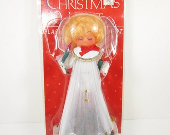 Angel Christmas Tree Topper Vintage in Package with Lights Electric Holiday Decor Retro 70s