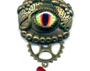 eye dragon pendant - necklace - steampunk