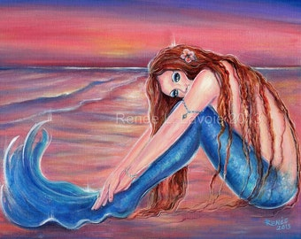 Touched by the sun mermaid  on the beach  print inches  by Renee L. Lavoie
