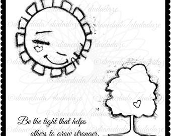Be the Light Inspirational Motivational Digital Stamp - Printable - Art to Color by Duda Daze