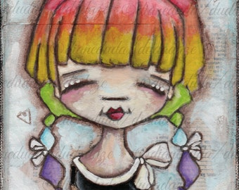 Print of my Original Inspirational Folk ARt Painting - The Girl with the Rainbow-Colored Hair - 5 x 7 image