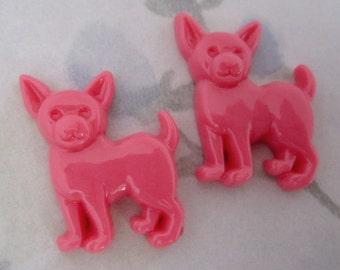 6 pcs. pink resin chihuahua dog flat back cabochons 24x21mm - f4962