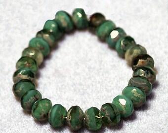Marbled Green Gemstones- thru cut Czech glass beads