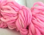 Handspun Yarn Thick and Thin Bulky - POSITIVELY PINK- merino, crochet, knit, craft supplies, weaving, doll hair 65yds.