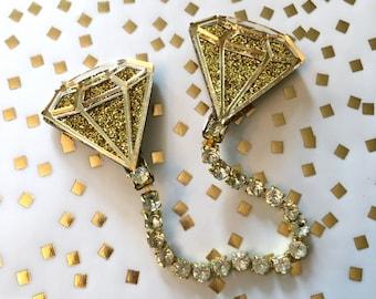 Gold Glitter Diamond Collar Clip