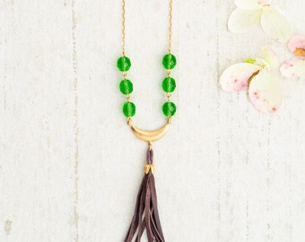 Green Bead and Leather Tassel Necklace, Bead and Leather Tassel Necklace