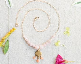 Pink Gemstone Pendant Necklace, Boho Pendant Necklace, Mixed Gemstone Necklace