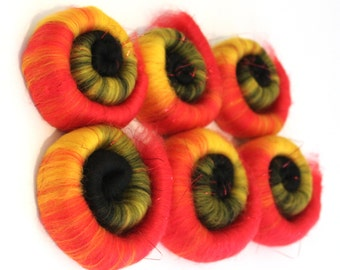 Punis Rolags Merino Wool -Tulips Fine Merino & Angelina Sparkle fibre for felting and spinning 50g 100g 500g