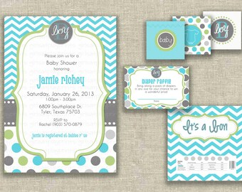 Baby Shower Boy Invitation Invite Party Kit Diaper Topper Candy Wrap  - print by you - by girls at play Etsy girlsatplay