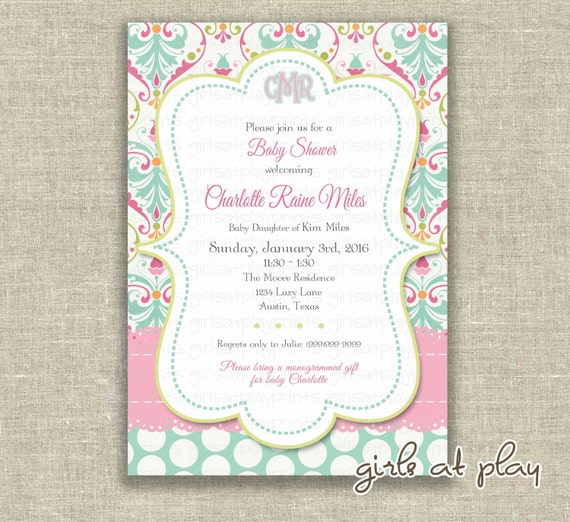 Baby Shower Girl Invitation Invite French Paisley Damask Turquoise Pink- Printable DIGITAL - by girls at play girlsatplay
