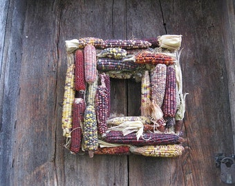 INDIAN CORN Harvest SQUARE  natural CoRN cob WReATH   for wall  decoration  Free shipping