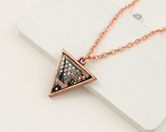 Copper Circuit Board Triangle Necklace - Recycled Geeky Jewelry - Geeky Necklace - Antiqued Copper Necklace