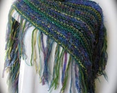 Hand knit fringed shawl or lap throw in shades of green, purple and tan, an all season shawl, pashmina knit in a square to fold as desired.