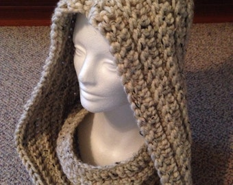 Central Park Hooded Cowl, Infinity Scarf in Oatmeal
