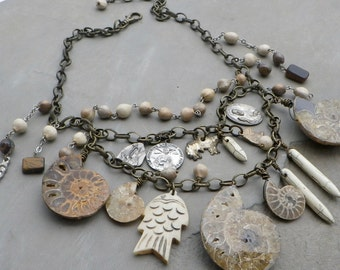 ammonite fossil necklace, ammonite statement necklace, bib statement necklace, bohemian statement necklace