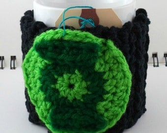 Crocheted Coffee or Ice Cream Cozy in Black Cotton with Round Pocket in Lime and Green with Black Button (SWG-F06)