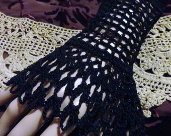 Black Victorian Steampunk Gothic Crochet Lace Lace Wrist Cuffs Halloween Wiccan