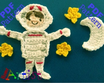 Astronaut crochet Applique Pattern