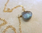 Labradorite Gold Necklace, Labradorite Pendant Necklace, Delicate Gold Chain, 14K Gold Fill, Layering Necklace, Minimalist Jewelry