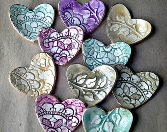 10 Bridal Shower favors Heart Ring Bowls Ceramic edged in gold assorted colors