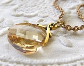 Crystal Pendant, Golden Showdow Swarovski Crystal Brass Chain Necklace, Champayne Swarovski Crystal Necklace, Brass Jewelry,