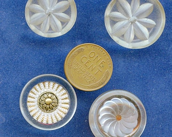 Lot of (4) Vintage FANCY CLEAR Lucite Buttons Embellished Reverse Carved, Metal 1820 Five Bucks