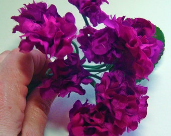 DEEP MAGENTA Dark Pink Vintage Millinery Flowers and Stems Hydrangea 2145