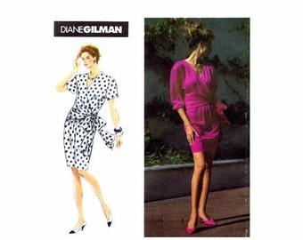 SALE 1990s Front Wrap Dress Diane Gilman Simplicity 7761 Sewing Pattern Misses Size 6 - 8 - 10 Bust 30 1/2 - 31 1/2 - 32 1/2 UNCUT