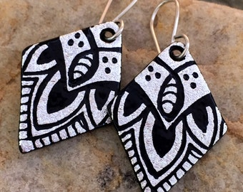 Mandala Hand Etched Dichroic Earrings Fused Glass & Sterling Silver Handmade Wires SILVER