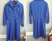 Vintage Blue Dress with Button Details S M