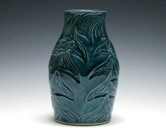 Teal Vase with Carved Branch Design