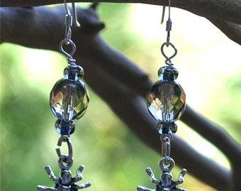 Halloween Sterling Silver Spider Charm Earrings EHAG by Cornerstoregoddess