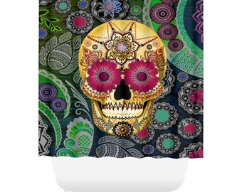 Colorful Sugar Skull Shower Curtain Paisley Skull Bath Curtain Dia De Los Muertos Bathroom