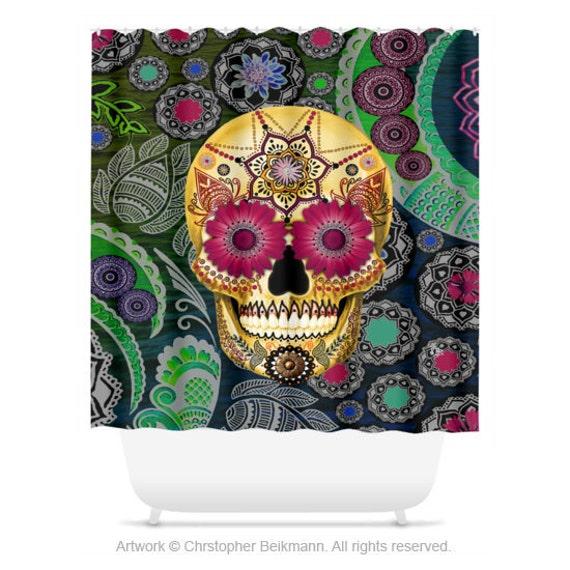 Colorful Sugar Skull Shower Curtain Paisley Skull Bath Curtain Dia De Los Muertos Bathroom