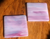 Pair of Pink Blue and White Streaky Fused Glass Coasters