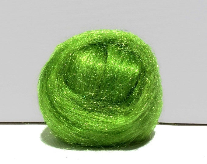 Featured listing image: Key Lime green Firestar, Needle felting, Wet Felting, Spinning Fiber, roving, .5 oz, light green, Spring Green, similar to Icicle Top, glitz