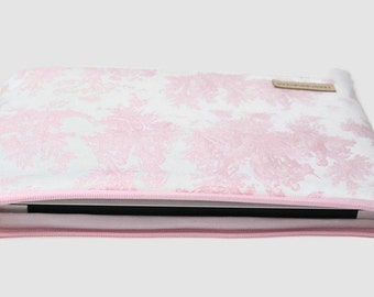 "Women's Laptop Sleeve Case, Dell XPS 13 Case, MacBook Sleeve, 11""-15"" Chromebook Case Cover - Baby Pink Toile"